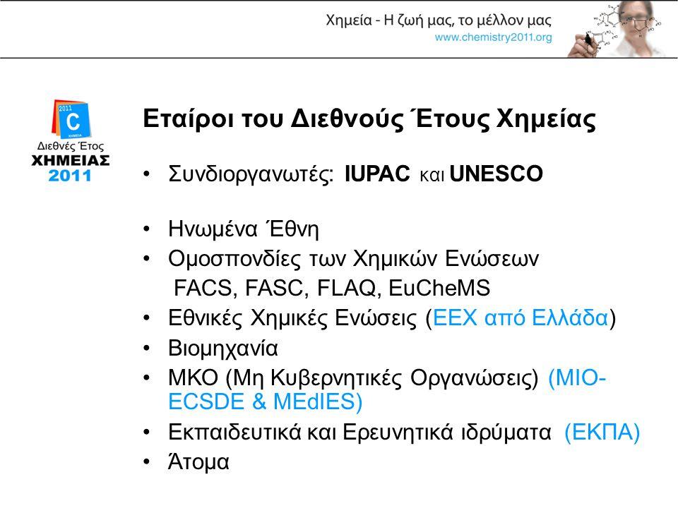 Εταίροι του Διεθνούς Έτους Χημείας •Συνδιοργανωτές: IUPAC και UNESCO •Ηνωμένα Έθνη •Ομοσπονδίες των Χημικών Ενώσεων FACS, FASC, FLAQ, EuCheMS •Εθνικές