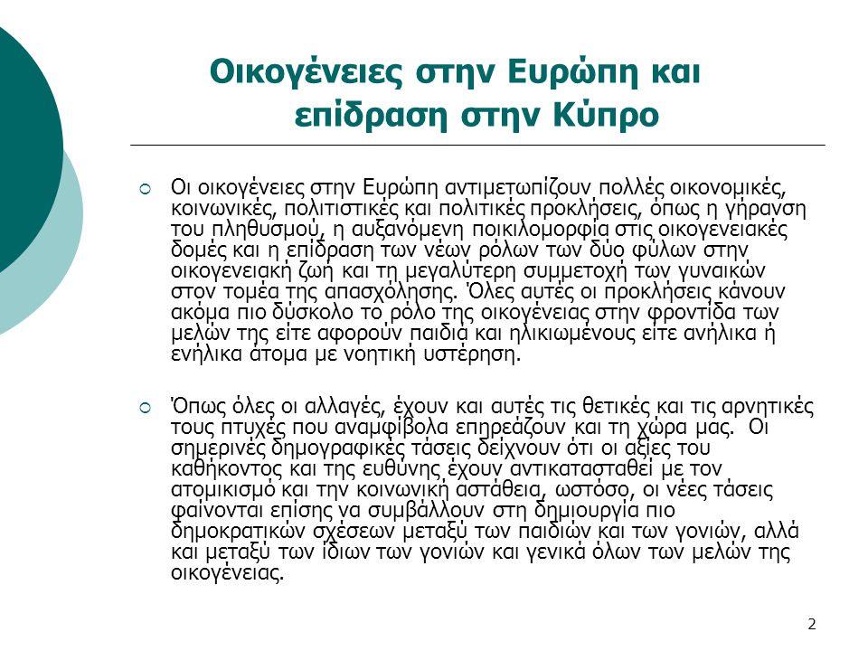 2 Οικογένειες στην Ευρώπη και επίδραση στην Κύπρο  Οι οικογένειες στην Ευρώπη αντιμετωπίζουν πολλές οικονομικές, κοινωνικές, πολιτιστικές και πολιτικ