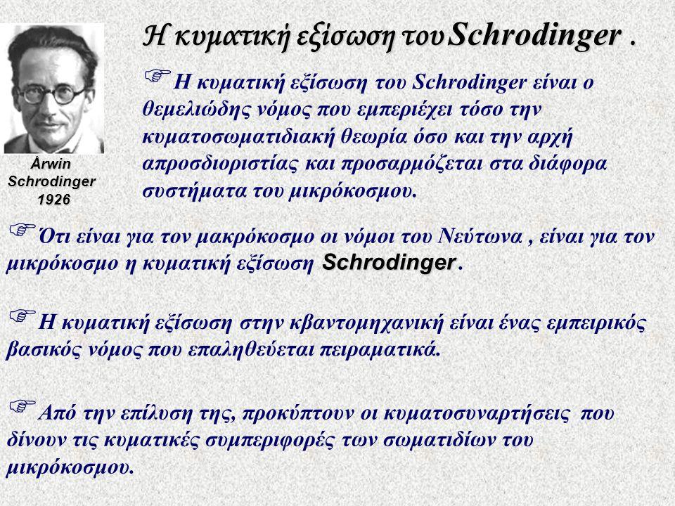 Η κυματική εξίσωση του Schrodinger.  Από την επίλυση της, προκύπτουν οι κυματοσυναρτήσεις που δίνουν τις κυματικές συμπεριφορές των σωματιδίων του μι