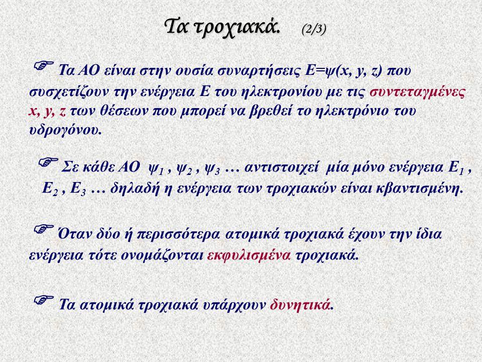 Τα τροχιακά. (2/3) Τα τροχιακά. (2/3)  Τα ΑΟ είναι στην ουσία συναρτήσεις E=ψ(x, y, z) που συσχετίζουν την ενέργεια Ε του ηλεκτρονίου με τις συντεταγ