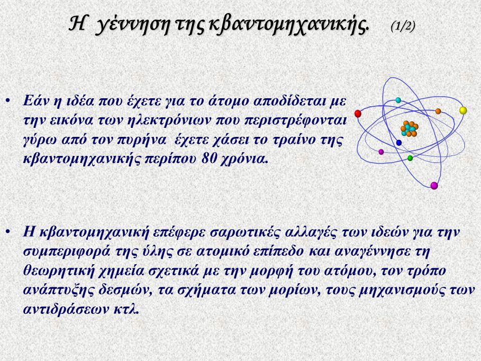Η γέννηση της κβαντομηχανικής. (1/2) •Εάν η ιδέα που έχετε για το άτομο αποδίδεται με την εικόνα των ηλεκτρόνιων που περιστρέφονται γύρω από τον πυρήν