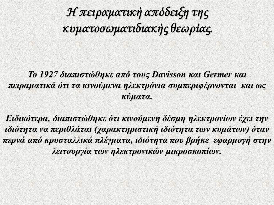 Το 1927 διαπιστώθηκε από τους Davisson και Germer και πειραματικά ότι τα κινούμενα ηλεκτρόνια συμπεριφέρνονται και ως κύματα. Ειδικότερα, διαπιστώθηκε