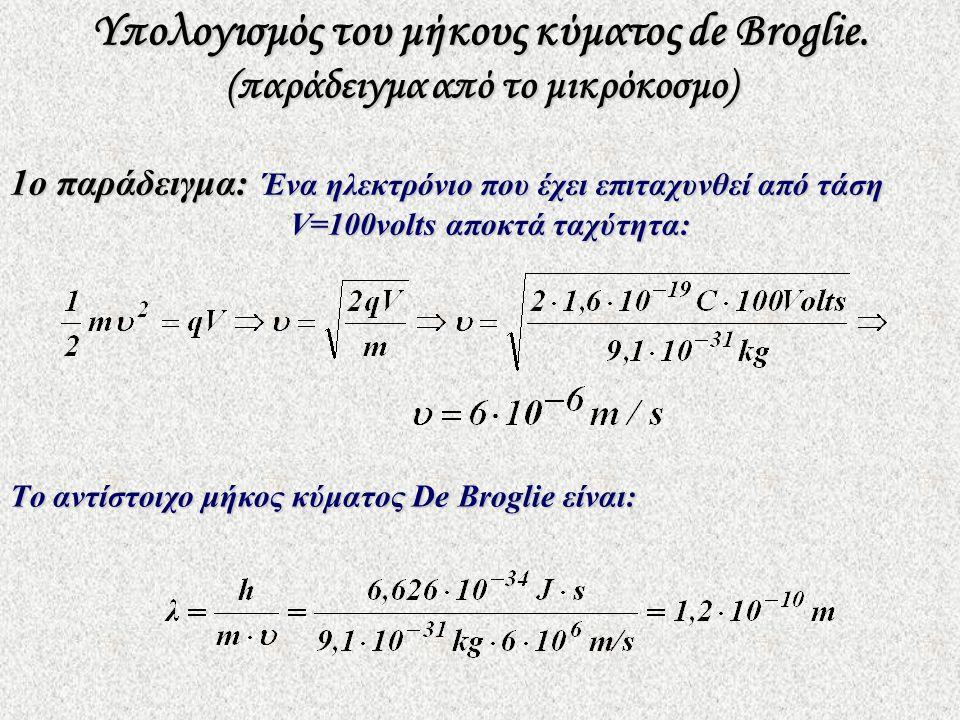 2ο παράδειγμα: Μια κινούμενη μπάλα με μάζα m=0,15kg και ταχύτητα υ=40m/sec έχει μήκος κύματος De Broglie: Το μήκος κύματος αυτό υπολείπεται πολύ ακόμα και από τη διάμετρο του πυρήνα που είναι της τάξης 10 ‑ 14 m.
