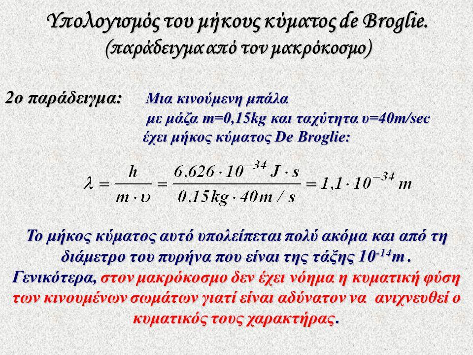 2ο παράδειγμα: Μια κινούμενη μπάλα με μάζα m=0,15kg και ταχύτητα υ=40m/sec έχει μήκος κύματος De Broglie: Το μήκος κύματος αυτό υπολείπεται πολύ ακόμα