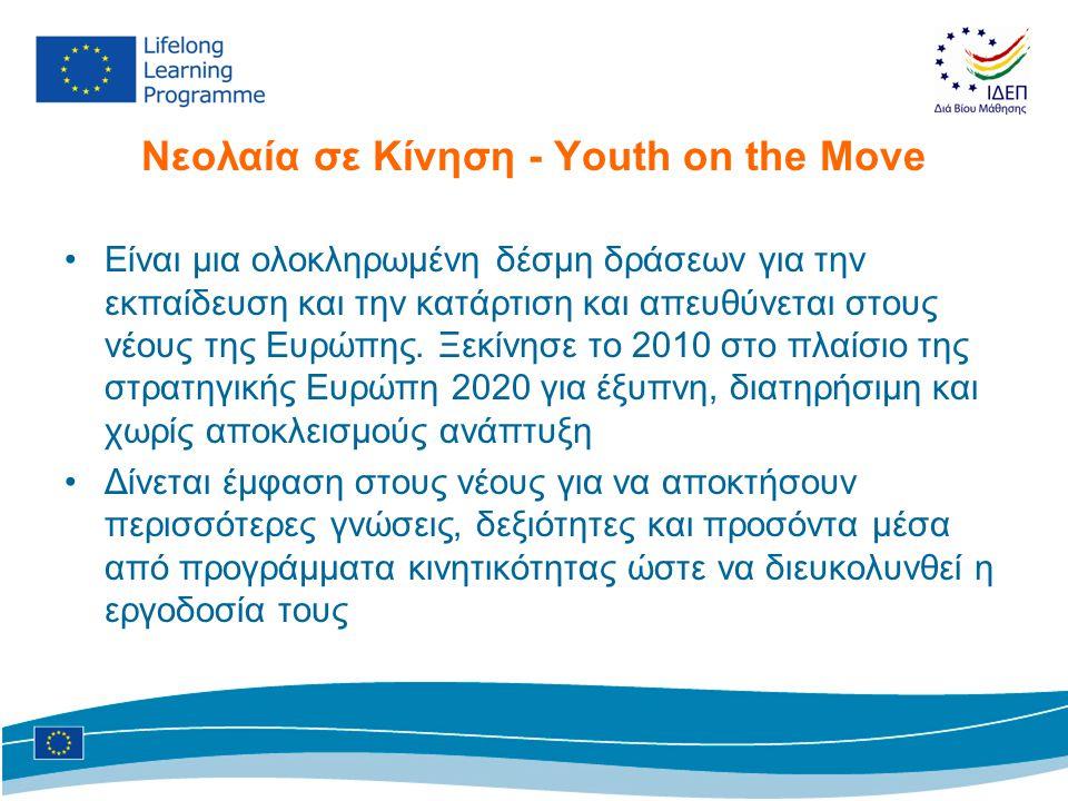 Νεολαία σε Kίνηση - Youth on the Move •Είναι μια ολοκληρωμένη δέσμη δράσεων για την εκπαίδευση και την κατάρτιση και απευθύνεται στους νέους της Ευρώπ