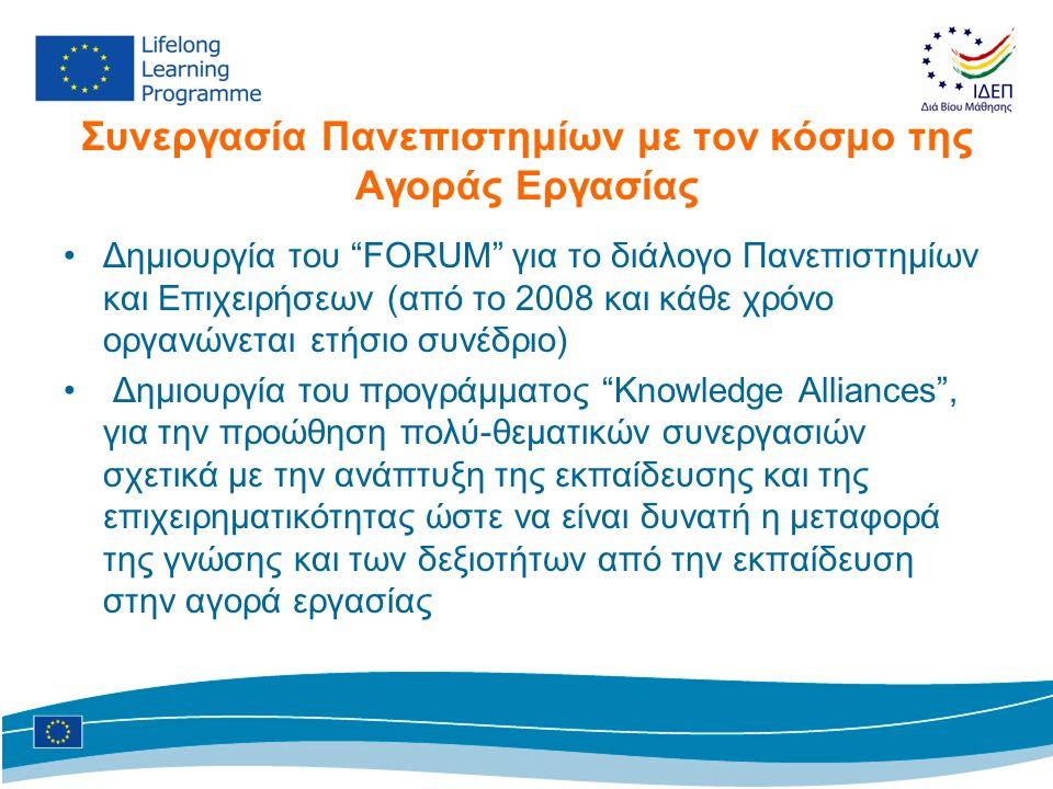 Συνεργασία Πανεπιστημίων με τον κόσμο της Αγοράς Εργασίας •Δημιουργία του FORUM για το διάλογο Πανεπιστημίων και Επιχειρήσεων (από το 2008 και κάθε χρόνο οργανώνεται ετήσιο συνέδριο) • Δημιουργία του προγράμματος Knowledge Alliances , για την προώθηση πολύ-θεματικών συνεργασιών σχετικά με την ανάπτυξη της εκπαίδευσης και της επιχειρηματικότητας ώστε να είναι δυνατή η μεταφορά της γνώσης και των δεξιοτήτων από την εκπαίδευση στην αγορά εργασίας