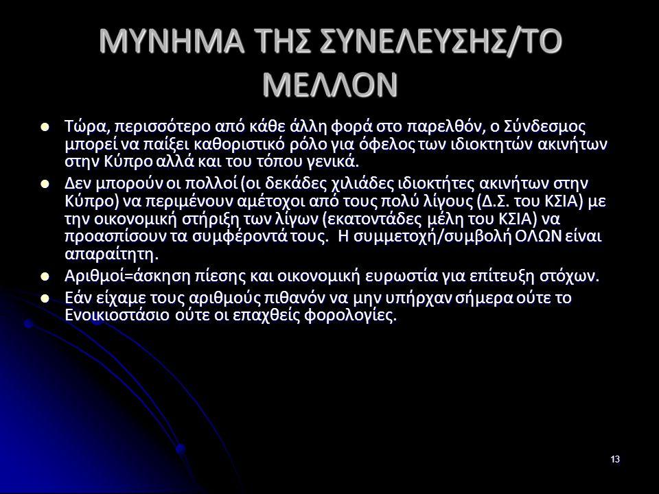 13 ΜΥΝΗΜΑ ΤΗΣ ΣΥΝΕΛΕΥΣΗΣ/ΤΟ ΜΕΛΛΟΝ  Τώρα, περισσότερο από κάθε άλλη φορά στο παρελθόν, ο Σύνδεσμος μπορεί να παίξει καθοριστικό ρόλο για όφελος των ιδιοκτητών ακινήτων στην Κύπρο αλλά και του τόπου γενικά.