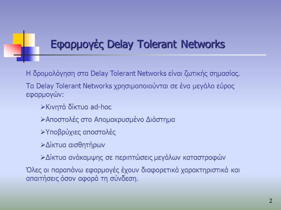 3 Δρομολόγηση σε DTN Χαρακτηριστικό των DTNs είναι ότι δεν είναι διαθέσιμη μια σύνδεση από άκρο σε άκρο πάντα.