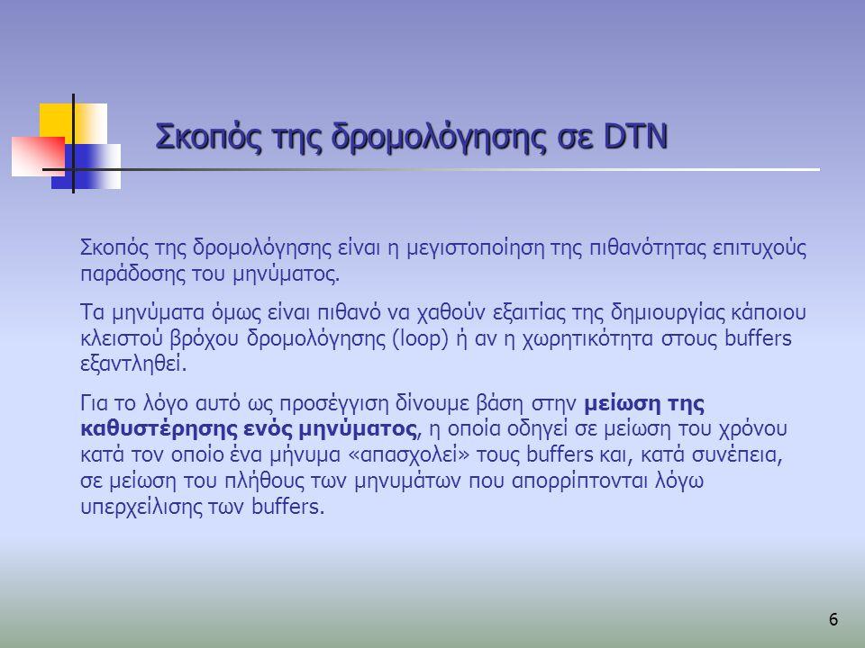 7 Σημεία όπου μπορεί να γίνει η δρομολόγηση Η δρομολόγηση στο DTN μπορεί να γίνει σε τρία διαφορετικά σημεία:  Source Routing Ολόκληρη η διαδρομή ενός μηνύματος καθορίζεται στον κόμβο-πηγή και κωδικοποιείται με κάποιο τρόπο μέσα στο μήνυμα.