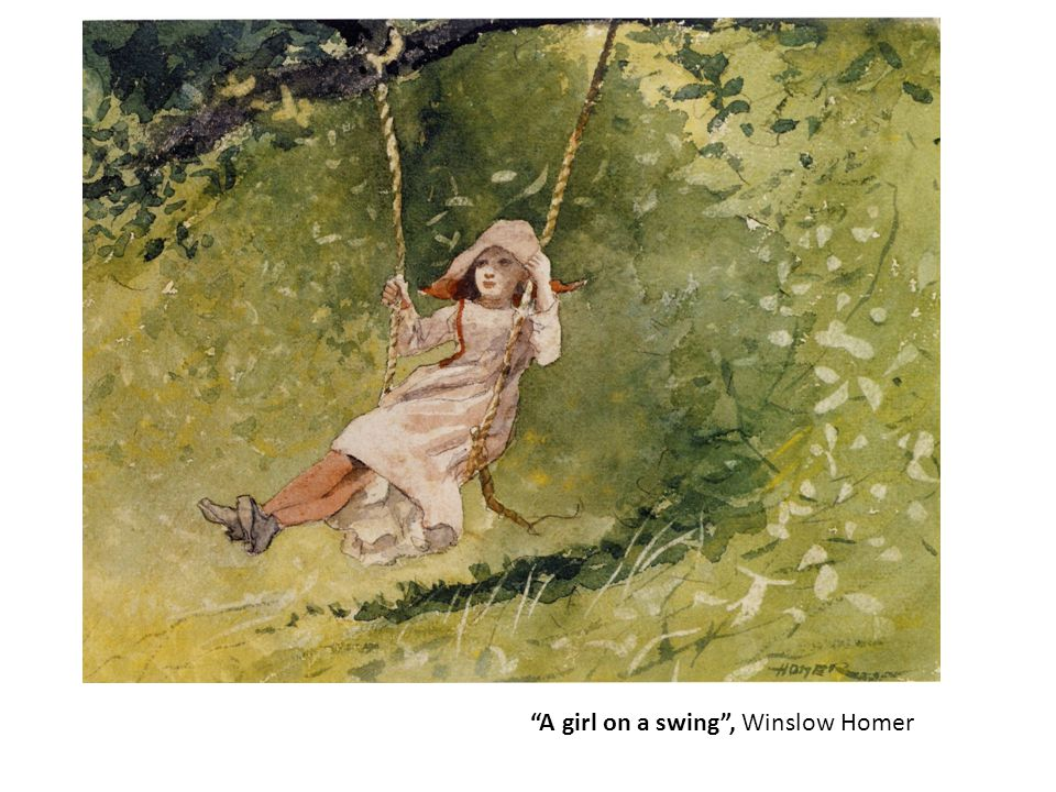 """A girl on a swing"", Winslow Homer"