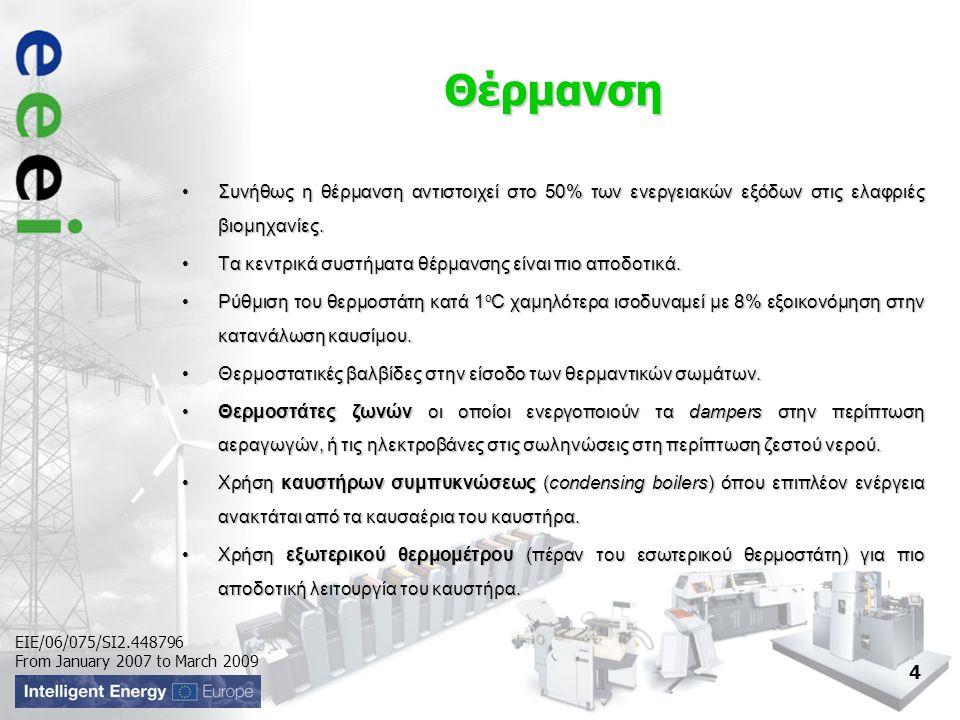 EIE/06/075/SI2.448796 From January 2007 to March 2009 Θέρμανση •Συνήθως η θέρμανση αντιστοιχεί στο 50% των ενεργειακών εξόδων στις ελαφριές βιομηχανίες.