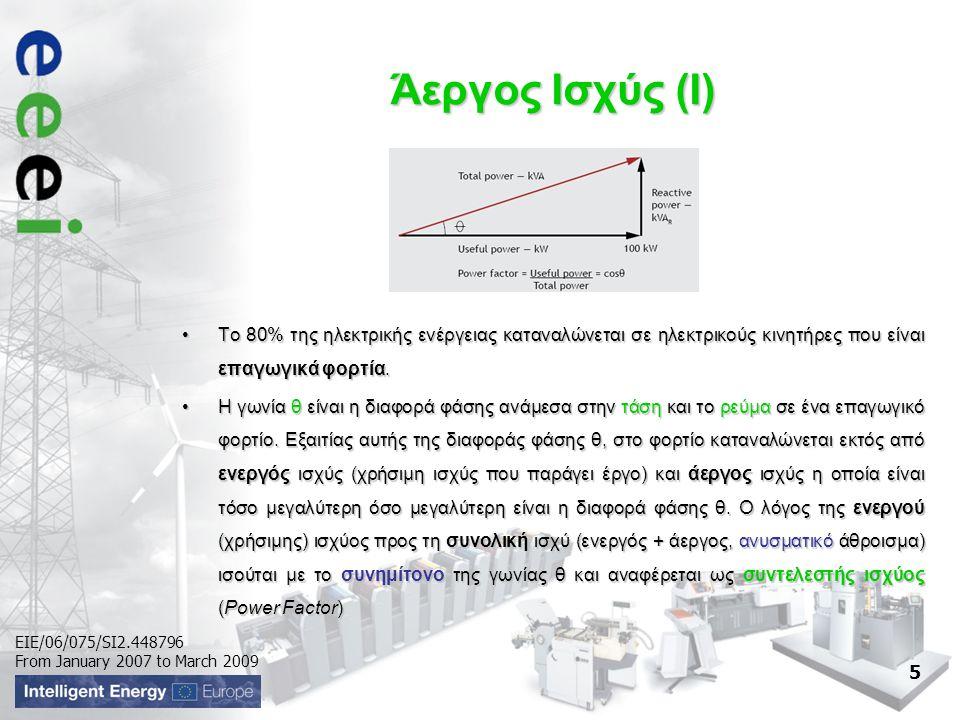 EIE/06/075/SI2.448796 From January 2007 to March 2009 Άεργος Ισχύς (I) •Το 80% της ηλεκτρικής ενέργειας καταναλώνεται σε ηλεκτρικούς κινητήρες που είναι επαγωγικά φορτία.