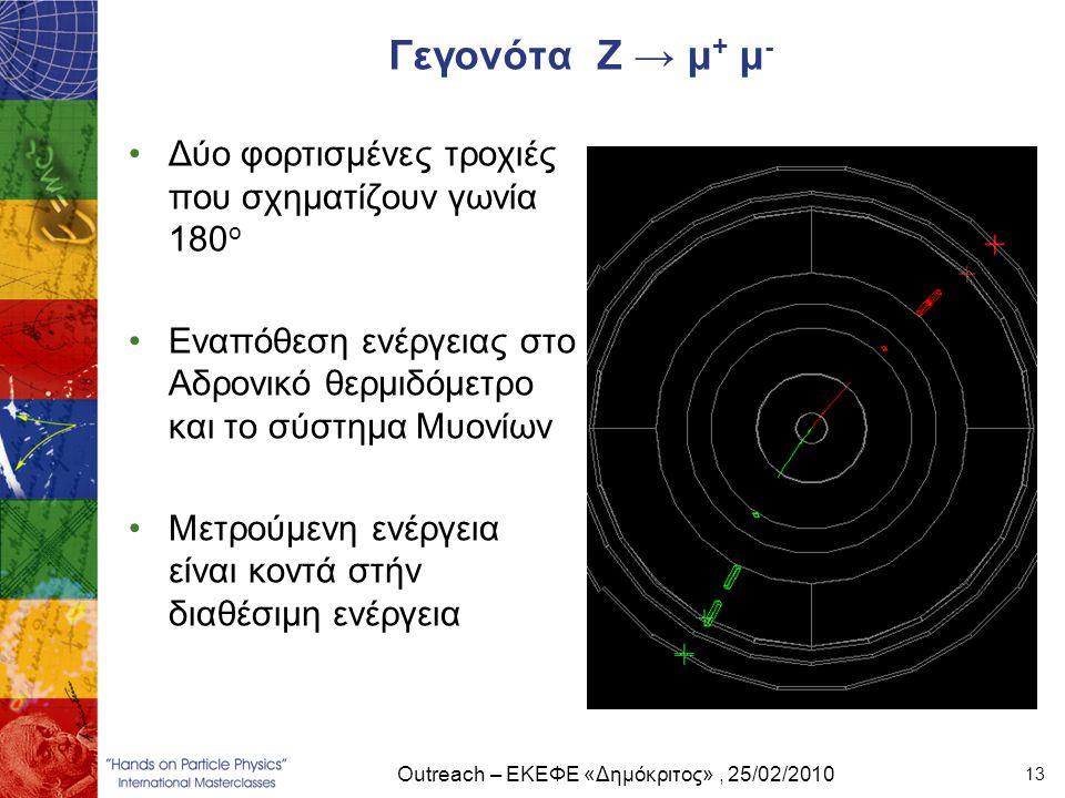Outreach – ΕΚΕΦΕ «Δημόκριτος», 25/02/2010 13 Γεγονότα Ζ → μ + μ - •Δύο φορτισμένες τροχιές που σχηματίζουν γωνία 180 ο •Εναπόθεση ενέργειας στο Αδρονι
