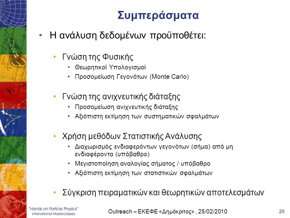 Outreach – ΕΚΕΦΕ «Δημόκριτος», 25/02/2010 20 Συμπεράσματα •Η ανάλυση δεδομένων προϋποθέτει: •Γνώση της Φυσικής •Θεωρητικοί Υπολογισμοί •Προσομείωση Γε