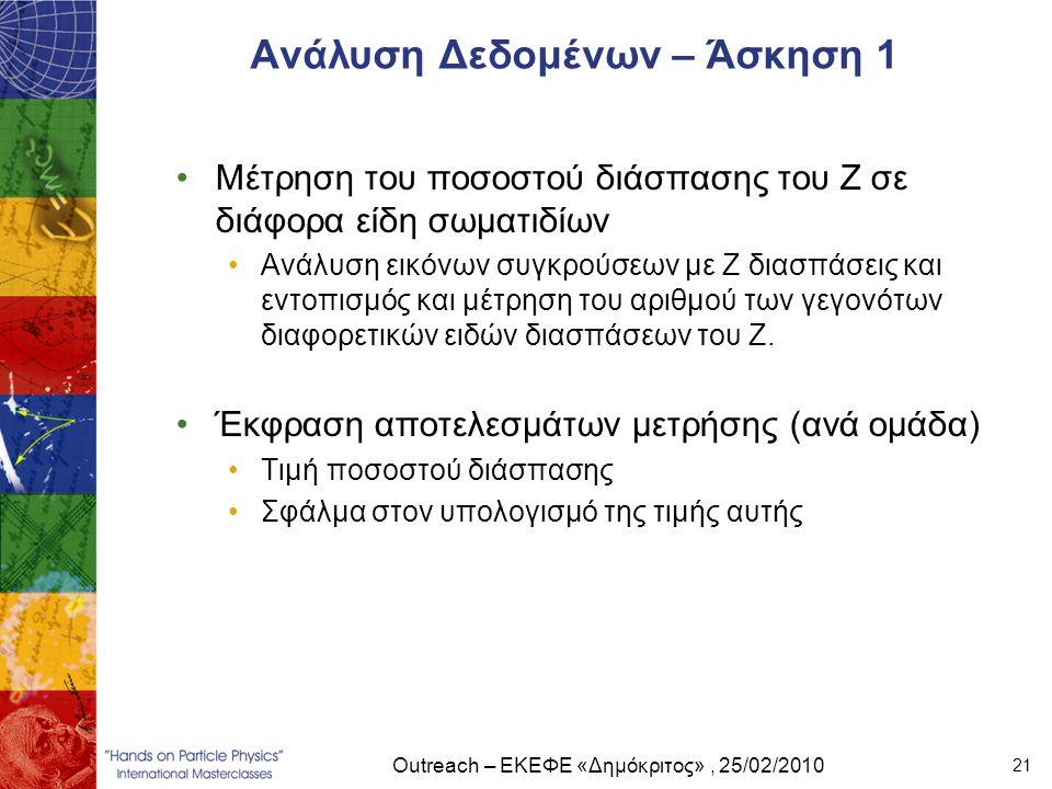 Outreach – ΕΚΕΦΕ «Δημόκριτος», 25/02/2010 21 Ανάλυση Δεδομένων – Άσκηση 1 •Μέτρηση του ποσοστού διάσπασης του Ζ σε διάφορα είδη σωματιδίων •Ανάλυση ει