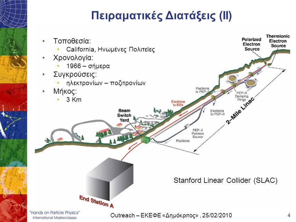 Outreach – ΕΚΕΦΕ «Δημόκριτος», 25/02/2010 4 Πειραματικές Διατάξεις (ΙΙ) Stanford Linear Collider (SLAC) •Τοποθεσία: •California, Ηνωμένες Πολιτείες •Χ