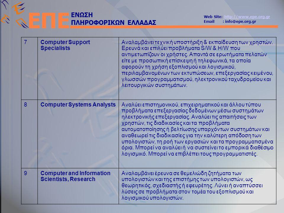 ΕΝΩΣΗ ΠΛΗΡΟΦΟΡΙΚΩΝ ΕΛΛΑΔΑΣ Web Site: http://www.epe.org.grhttp://www.epe.org.gr Email : info@epe.org.gr ΕΠΕ 7Computer Support Specialists Αναλαμβάνει τεχνική υποστήριξη & εκπαίδευση των χρηστών.