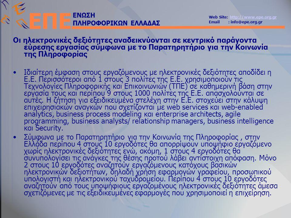 ΕΝΩΣΗ ΠΛΗΡΟΦΟΡΙΚΩΝ ΕΛΛΑΔΑΣ Web Site: http://www.epe.org.grhttp://www.epe.org.gr Email : info@epe.org.gr ΕΠΕ Οι ηλεκτρονικές δεξιότητες αναδεικνύονται σε κεντρικό παράγοντα εύρεσης εργασίας σύμφωνα με το Παρατηρητήριο για την Κοινωνία της Πληροφορίας •Ιδιαίτερη έμφαση στους εργαζόμενους με ηλεκτρονικές δεξιότητες αποδίδει η Ε.Ε.