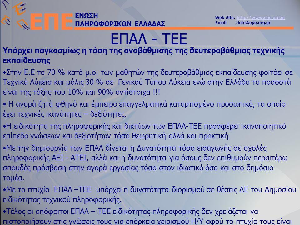 ΕΝΩΣΗ ΠΛΗΡΟΦΟΡΙΚΩΝ ΕΛΛΑΔΑΣ Web Site: http://www.epe.org.grhttp://www.epe.org.gr Email : info@epe.org.gr ΕΠΕ ΕΠΑΛ - ΤΕΕ Υπάρχει παγκοσμίως η τάση της αναβάθμισης της δευτεροβάθμιας τεχνικής εκπαίδευσης •Στην Ε.Ε το 70 % κατά μ.ο.