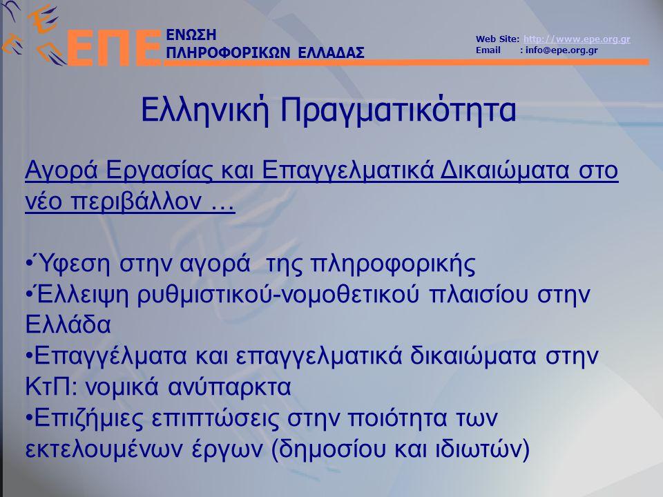 ΕΝΩΣΗ ΠΛΗΡΟΦΟΡΙΚΩΝ ΕΛΛΑΔΑΣ Web Site: http://www.epe.org.grhttp://www.epe.org.gr Email : info@epe.org.gr ΕΠΕ Ελληνική Πραγματικότητα Αγορά Εργασίας και Επαγγελματικά Δικαιώματα στο νέο περιβάλλον … •Ύφεση στην αγορά της πληροφορικής •Έλλειψη ρυθμιστικού-νομοθετικού πλαισίου στην Ελλάδα •Επαγγέλματα και επαγγελματικά δικαιώματα στην ΚτΠ: νομικά ανύπαρκτα •Επιζήμιες επιπτώσεις στην ποιότητα των εκτελουμένων έργων (δημοσίου και ιδιωτών)