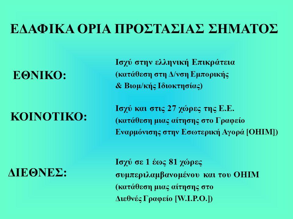 Ισχύ στην ελληνική Επικράτεια (κατάθεση στη Δ/νση Εμπορικής & Βιομ/κής Ιδιοκτησίας) ΕΘΝΙΚΟ: ΚΟΙΝΟΤΙΚΟ: ΔΙΕΘΝΕΣ: ΕΔΑΦΙΚΑ ΟΡΙΑ ΠΡΟΣΤΑΣΙΑΣ ΣΗΜΑΤΟΣ Ισχύ και στις 27 χώρες της Ε.Ε.