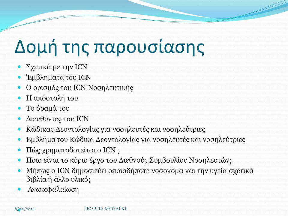 Δομή της παρουσίασης  Σχετικά με την ICN  Έμβληματα του ICN  Ο ορισμός του ICN Νοσηλευτικής  Η απόστολή του  Το όραμά του  Διευθύντες του ICN  Κώδικας Δεοντολογίας για νοσηλευτές και νοσηλεύτριες  Εμβλήμα του Κώδικα Δεοντολογίας για νοσηλευτές και νοσηλεύτριες  Πώς χρηματοδοτείται ο ICN ;  Ποιο είναι το κύριο έργο του Διεθνούς Συμβουλίου Νοσηλευτών;  Μήπως ο ICN δημοσιεύει οποιαδήποτε νοσοκόμα και την υγεία σχετικά βιβλία ή άλλο υλικό;  Ανακεφαλαίωση  6/20/2014ΓΕΩΡΓΙΑ ΜΟΥΑΓΚΙ