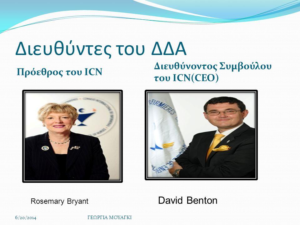 Διευθύντες του ΔΔΑ Πρόεθρος του ICN Διευθύνοντος Συμβούλου του ICN(CEO) 6/20/2014ΓΕΩΡΓΙΑ ΜΟΥΑΓΚΙ Rosemary Bryant David Benton