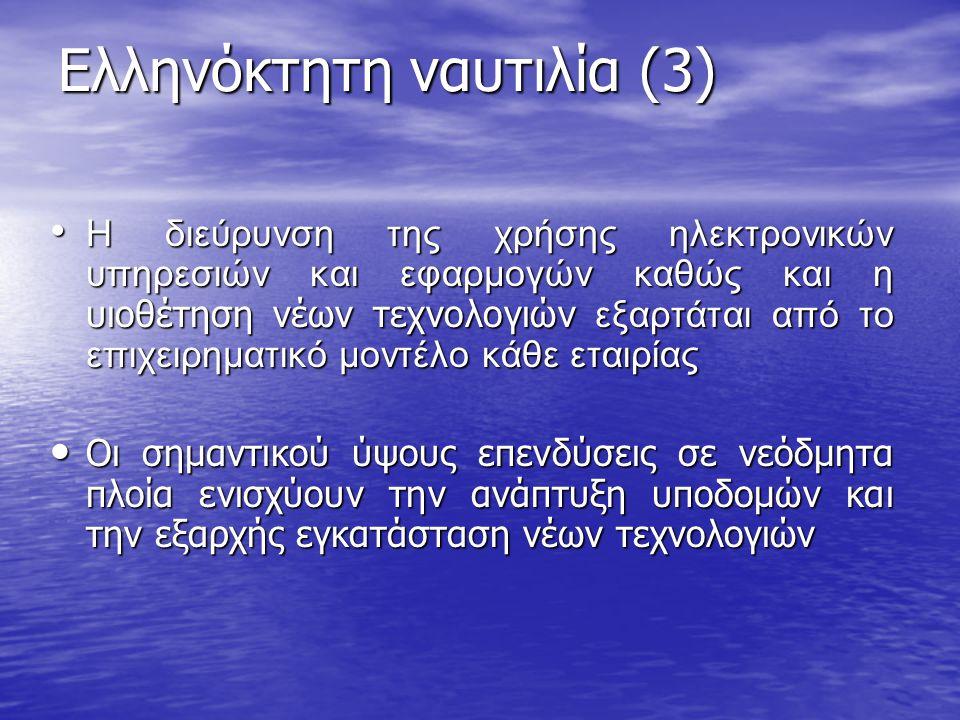 Ελληνόκτητη ναυτιλία (3) • Η διεύρυνση της χρήσης ηλεκτρονικών υπηρεσιών και εφαρμογών καθώς και η υιοθέτηση νέων τεχνολογιών εξαρτάται από το επιχειρ