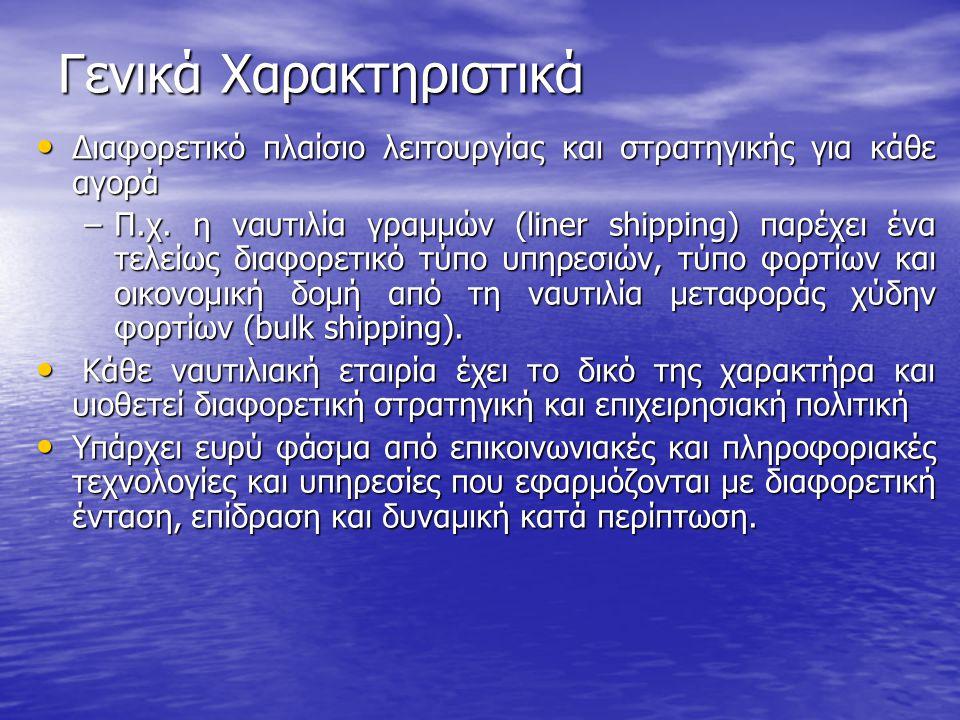 Γενικά Χαρακτηριστικά • Διαφορετικό πλαίσιο λειτουργίας και στρατηγικής για κάθε αγορά –Π.χ. η ναυτιλία γραμμών (liner shipping) παρέχει ένα τελείως δ