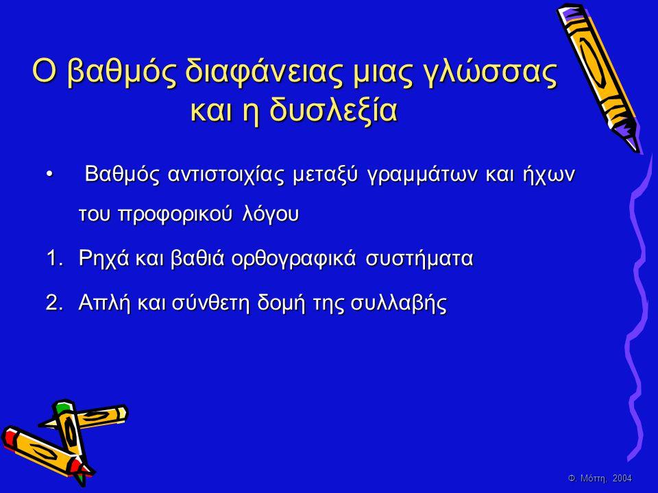 Φ. Μόττη, 2004 Ο βαθμός διαφάνειας μιας γλώσσας και η δυσλεξία • Βαθμός αντιστοιχίας μεταξύ γραμμάτων και ήχων του προφορικού λόγου 1.Ρηχά και βαθιά ο