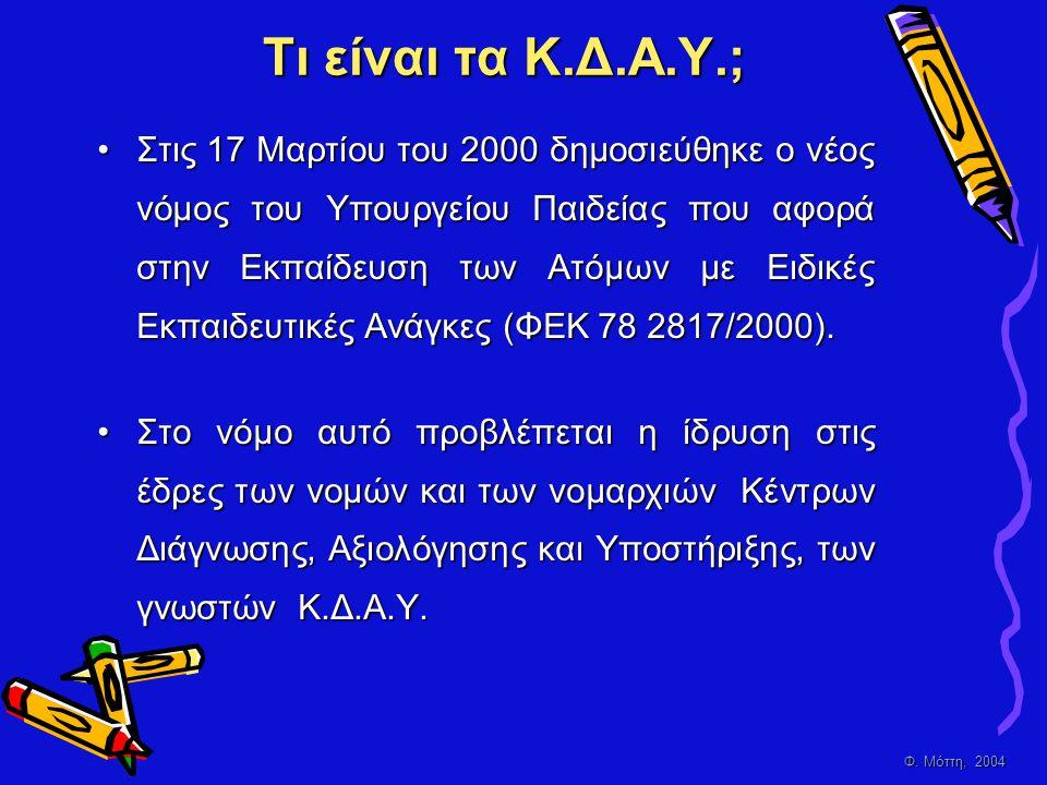 Φ. Μόττη, 2004 Τι είναι τα Κ.Δ.Α.Υ.; •Σ•Σ•Σ•Στις 17 Μαρτίου του 2000 δημοσιεύθηκε ο νέος νόμος του Υπουργείου Παιδείας που αφορά στην Εκπαίδευση των Α