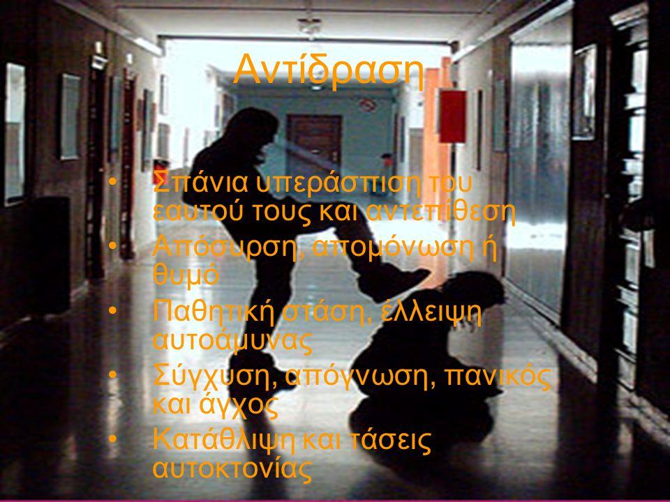 Ενδείξεις ότι το παιδί θυματοποιήθηκε •Μειωμένη διάθεση •Αδικαιολόγητες απουσίες, μαθησιακή πτώση/χαμηλοί βαθμοί •Σχισμένα, κατεστραμμένα ρούχα •Σημάδια και μελανιές στο σώμα του •Άρνηση συμμετοχής σε σχολικές δραστηριότητες •Ψυχοσωματικά προβλήματα •Προσέγγιση εκπαιδευτικών στα διαλείμματα