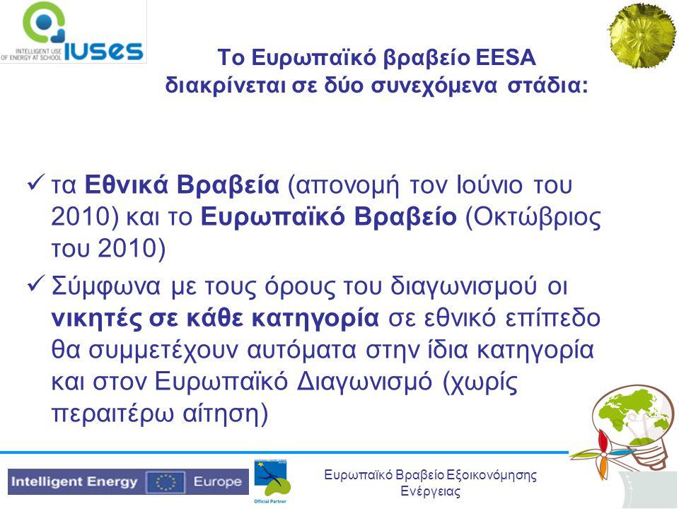 Ευρωπαϊκό Βραβείο Εξοικονόμησης Ενέργειας Τα βραβεία θα ανταμείψουν:  επιτεύγματα  καλές ιδέες  πρακτικές και σχέδια για βελτίωση σε ενεργειακά θέματα, με έμφαση σε θέματα μείωσης ενεργειακής κατανάλωσης •Τα βραβεία αφορούν οποιοδήποτε σχολείο δευτεροβάθμιας εκπαίδευσης και/ή ανεξάρτητο μαθητή/-τρια ή ομάδες μαθητών
