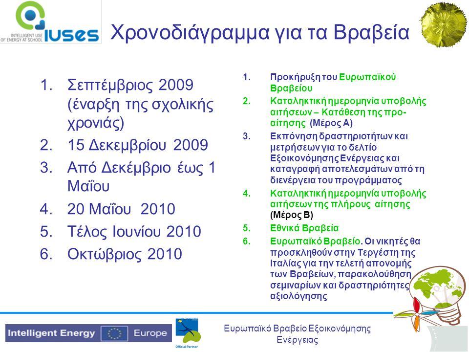 Ευρωπαϊκό Βραβείο Εξοικονόμησης Ενέργειας Χρονοδιάγραμμα για τα Βραβεία 1.Σεπτέμβριος 2009 (έναρξη της σχολικής χρονιάς) 2.15 Δεκεμβρίου 2009 3.Από Δε