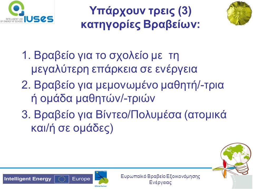 Ευρωπαϊκό Βραβείο Εξοικονόμησης Ενέργειας Υπάρχουν τρεις (3) κατηγορίες Βραβείων: 1. Βραβείο για το σχολείο με τη μεγαλύτερη επάρκεια σε ενέργεια 2. Β