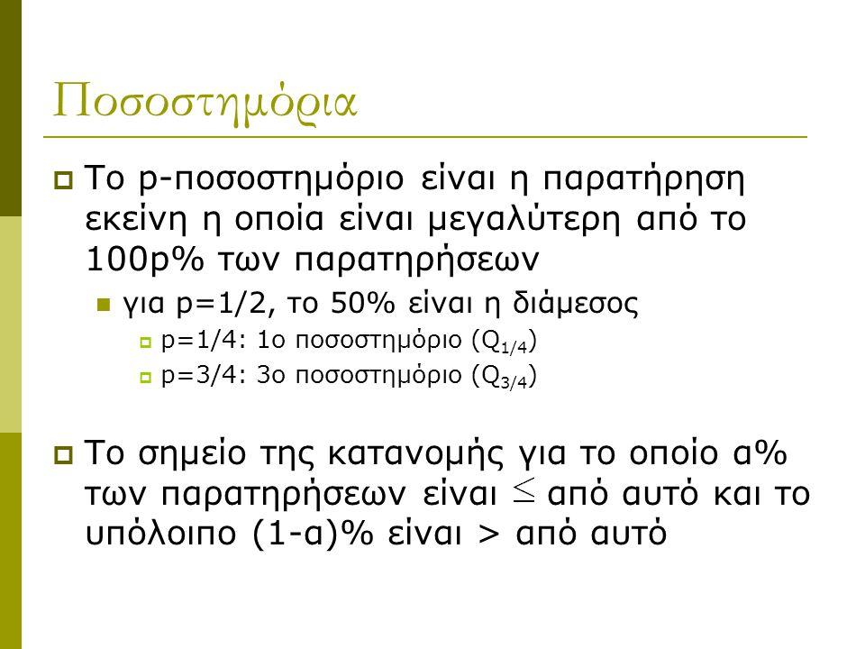 Ποσοστημόρια  Το p-ποσοστημόριο είναι η παρατήρηση εκείνη η οποία είναι μεγαλύτερη από το 100p% των παρατηρήσεων  για p=1/2, το 50% είναι η διάμεσος
