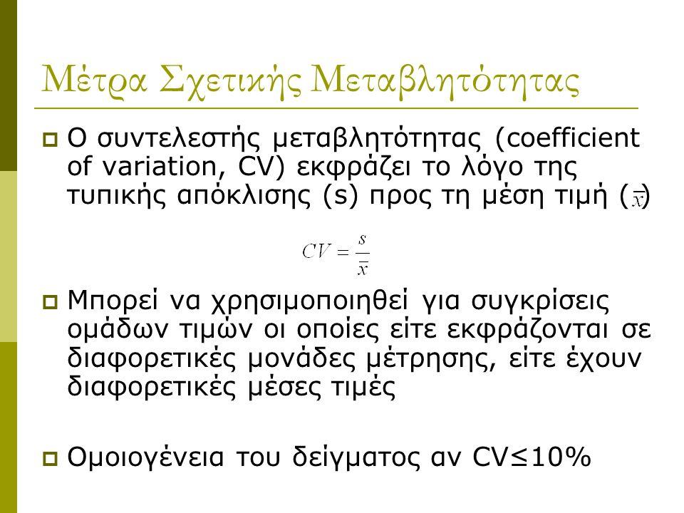 Μέτρα Σχετικής Μεταβλητότητας  Ο συντελεστής μεταβλητότητας (coefficient of variation, CV) εκφράζει το λόγο της τυπικής απόκλισης (s) προς τη μέση τι