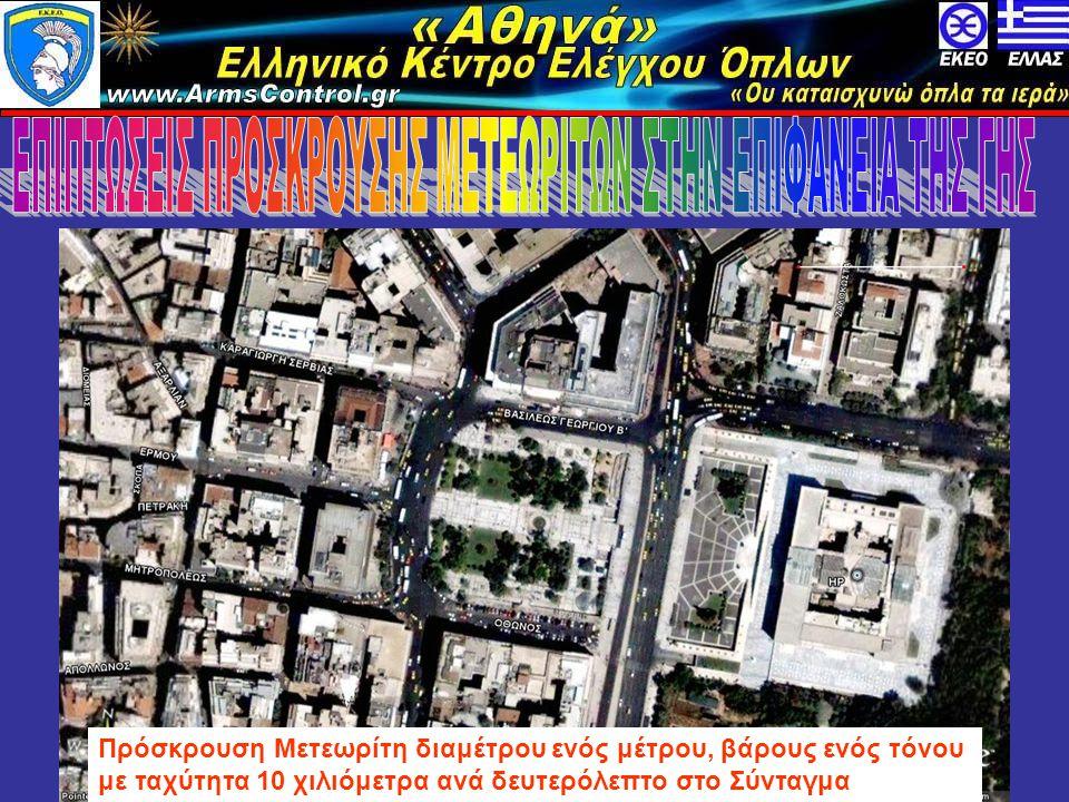 «Αθηνά» Ελληνικό Κέντρο Ελέγχου Όπλων www.armscontrol.info Πρόσκρουση Μετεωρίτη διαμέτρου ενός μέτρου, βάρους ενός τόνου με ταχύτητα 10 χιλιόμετρα ανά δευτερόλεπτο στο Σύνταγμα