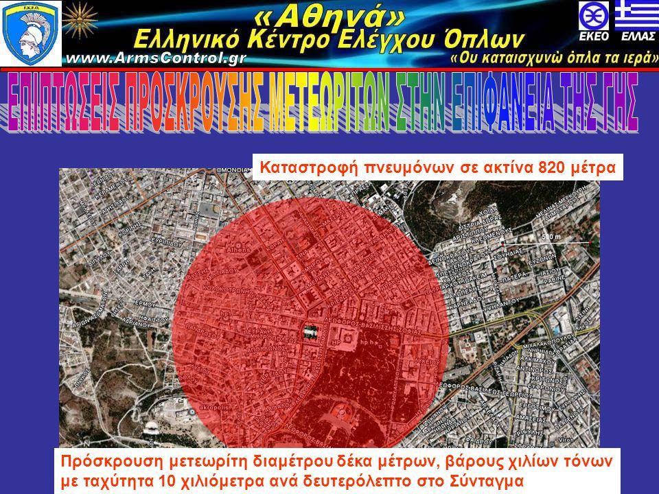 «Αθηνά» Ελληνικό Κέντρο Ελέγχου Όπλων www.armscontrol.info Πρόσκρουση μετεωρίτη διαμέτρου δέκα μέτρων, βάρους χιλίων τόνων με ταχύτητα 10 χιλιόμετρα ανά δευτερόλεπτο στο Σύνταγμα Καταστροφή πνευμόνων σε ακτίνα 820 μέτρα