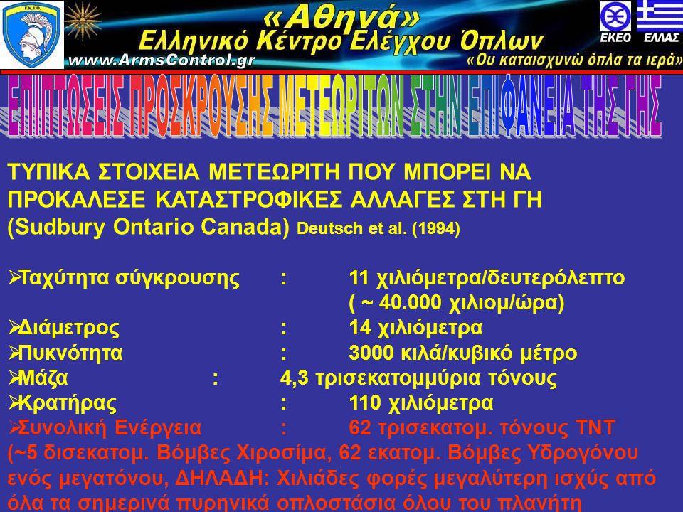«Αθηνά» Ελληνικό Κέντρο Ελέγχου Όπλων www.armscontrol.info ΤΥΠΙΚΑ ΣΤΟΙΧΕΙΑ ΜΕΤΕΩΡΙΤΗ ΠΟΥ ΜΠΟΡΕΙ ΝΑ ΠΡΟΚΑΛΕΣΕ ΚΑΤΑΣΤΡΟΦΙΚΕΣ ΑΛΛΑΓΕΣ ΣΤΗ ΓΗ (Sudbury Ontario Canada) Deutsch et al.