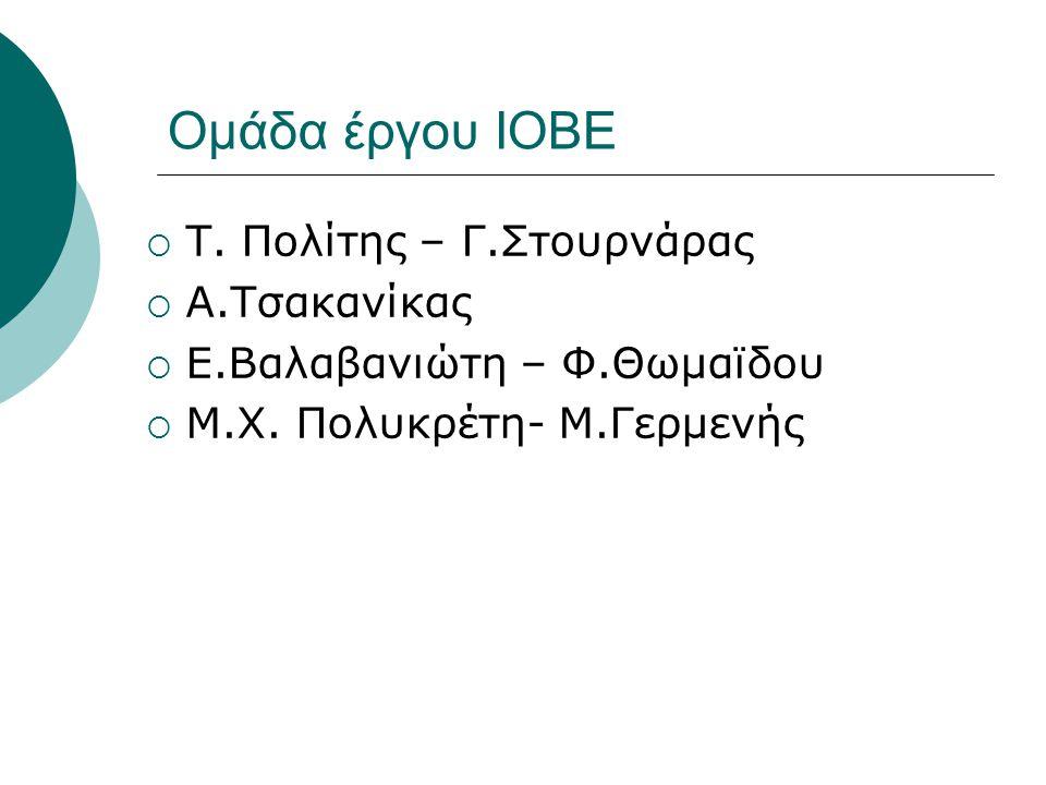Ομάδα έργου ΙΟΒΕ  Τ. Πολίτης – Γ.Στουρνάρας  Α.Τσακανίκας  Ε.Βαλαβανιώτη – Φ.Θωμαϊδου  Μ.Χ. Πολυκρέτη- Μ.Γερμενής