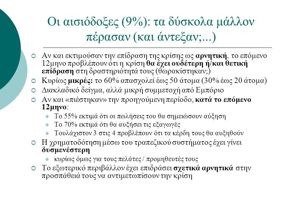 Οι αισιόδοξες (9%): τα δύσκολα μάλλον πέρασαν (και άντεξαν;...)  Αν και εκτιμούσαν την επίδραση της κρίσης ως αρνητική, το επόμενο 12μηνο προβλέπουν