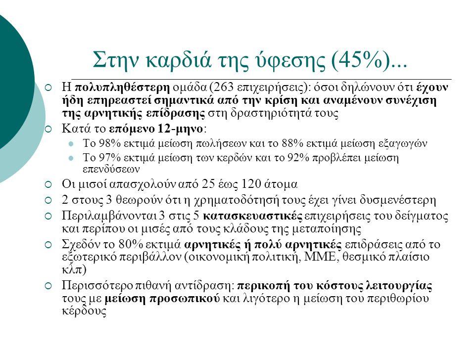 Στην καρδιά της ύφεσης (45%)...  Η πολυπληθέστερη ομάδα (263 επιχειρήσεις): όσοι δηλώνουν ότι έχουν ήδη επηρεαστεί σημαντικά από την κρίση και αναμέν