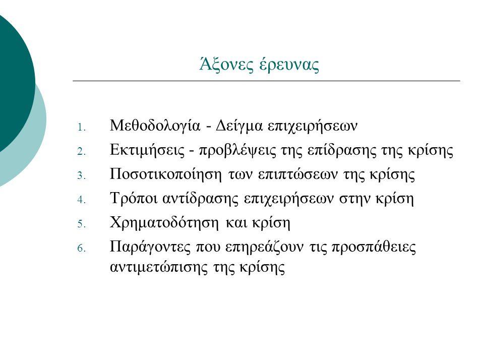 Άξονες έρευνας 1. Μεθοδολογία - Δείγμα επιχειρήσεων 2. Εκτιμήσεις - προβλέψεις της επίδρασης της κρίσης 3. Ποσοτικοποίηση των επιπτώσεων της κρίσης 4.