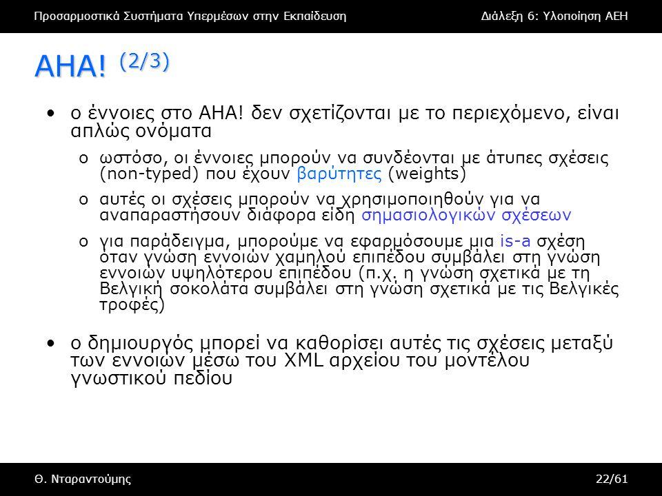 Προσαρμοστικά Συστήματα Υπερμέσων στην ΕκπαίδευσηΔιάλεξη 6: Υλοποίηση AEH Θ. Νταραντούμης22/61 AHA! (2/3) •ο έννοιες στο AHA! δεν σχετίζονται με το πε