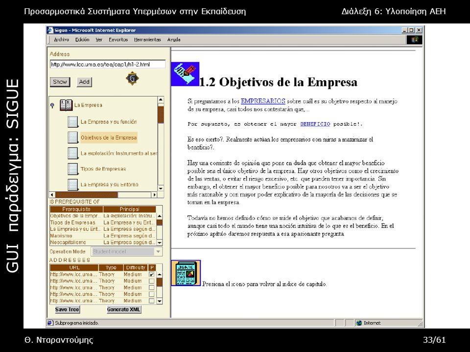 Προσαρμοστικά Συστήματα Υπερμέσων στην ΕκπαίδευσηΔιάλεξη 6: Υλοποίηση AEH Θ. Νταραντούμης33/61 GUI παράδειγμα : SIGUE