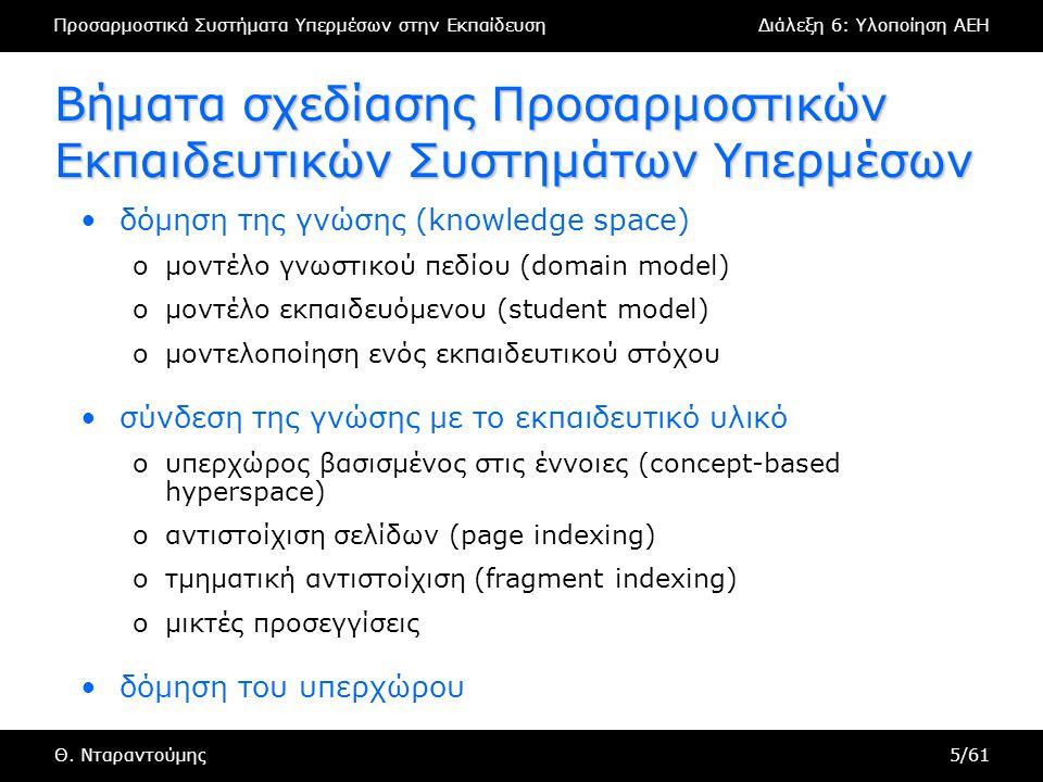 Προσαρμοστικά Συστήματα Υπερμέσων στην ΕκπαίδευσηΔιάλεξη 6: Υλοποίηση AEH Θ. Νταραντούμης5/61 Βήματα σχεδίασης Προσαρμοστικών Εκπαιδευτικών Συστημάτων