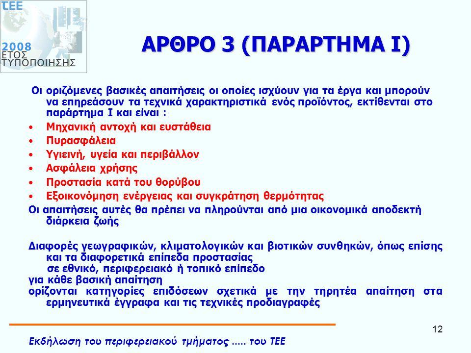 Εκδήλωση του περιφερειακού τμήματος..... του ΤΕΕ 12 ΑΡΘΡΟ 3 (ΠΑΡΑΡΤΗΜΑ Ι) Οι οριζόμενες βασικές απαιτήσεις οι οποίες ισχύουν για τα έργα και μπορούν ν