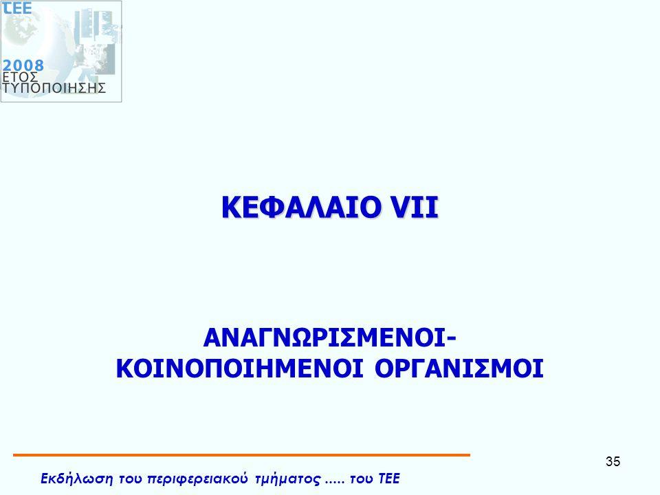 Εκδήλωση του περιφερειακού τμήματος..... του ΤΕΕ 35 ΚΕΦΑΛΑΙΟ VII ΑΝΑΓΝΩΡΙΣΜΕΝΟΙ- ΚΟΙΝΟΠΟΙΗΜΕΝΟΙ ΟΡΓΑΝΙΣΜΟΙ