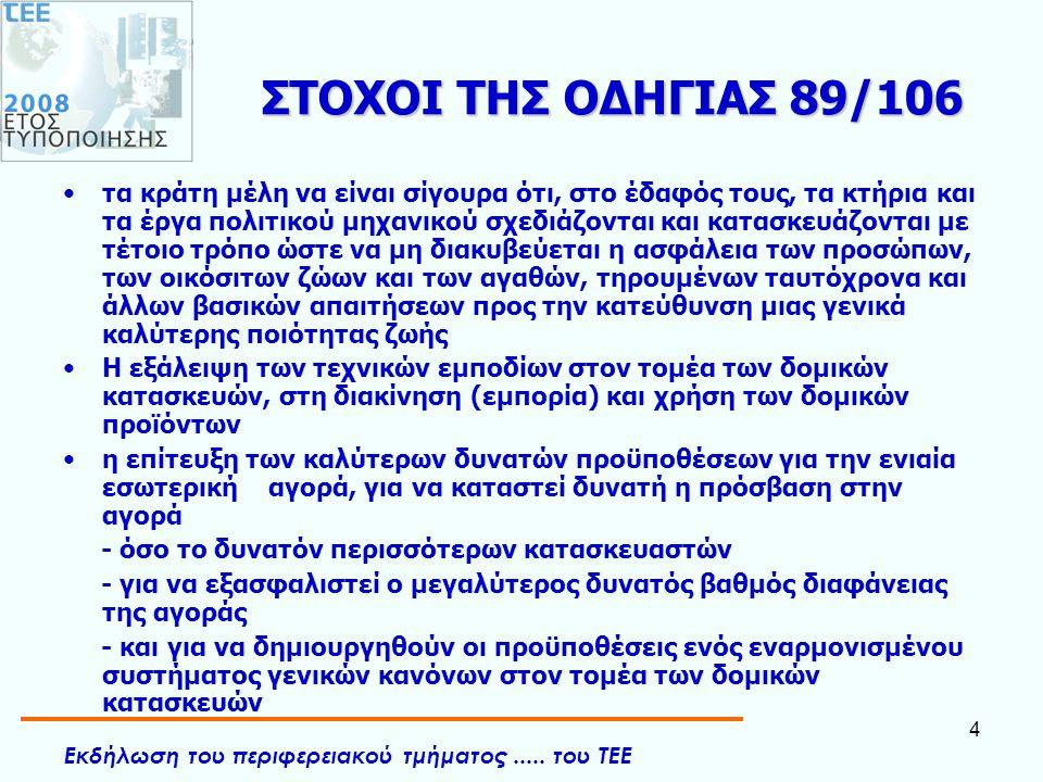 Εκδήλωση του περιφερειακού τμήματος..... του ΤΕΕ 4 ΣΤΟΧΟΙ ΤΗΣ ΟΔΗΓΙΑΣ 89/106 •τα κράτη μέλη να είναι σίγουρα ότι, στο έδαφός τους, τα κτήρια και τα έρ